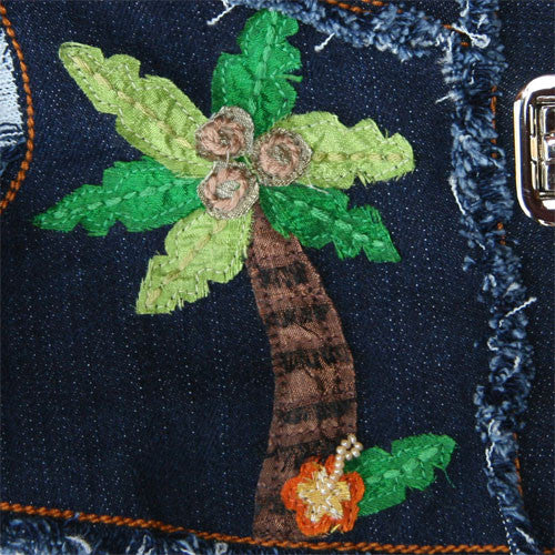 Dog in The Closet Hula Monkey Denim Vest Harness Palm Tree Detail