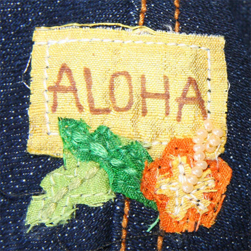 Dog in The Closet Hula Monkey Denim Vest Harness Aloha Embroidery Detail