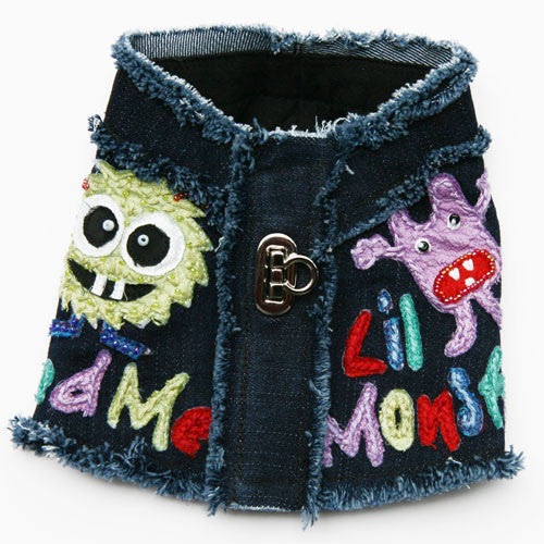 Dog in The Closet Little Monster Denim Vest Harness Back View