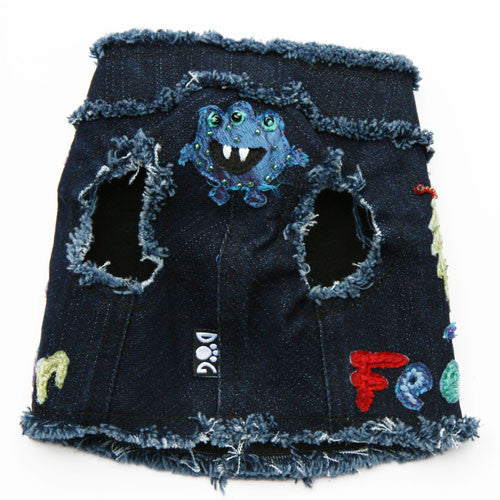 Dog in The Closet Little Monster Denim Vest Harness Front View