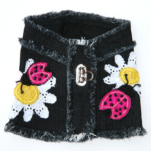 Dog in The Closet Daisy and Ladybug Denim Vest Harness Back View