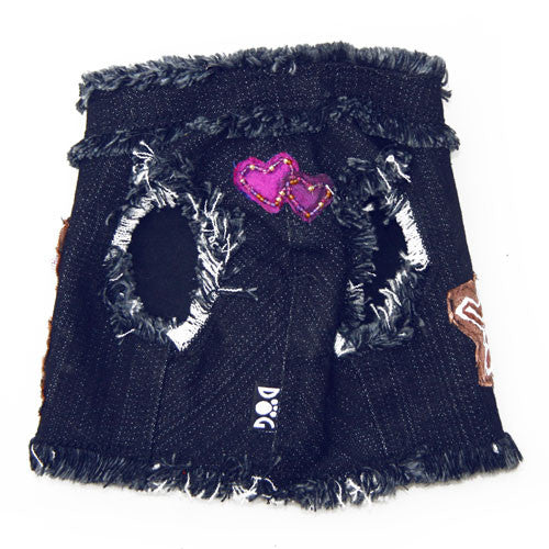 Dog in The Closet Hugs and Kisses Denim Vest Harness Front View
