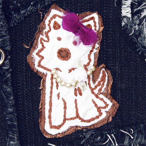 Dog in The Closet Hugs and Kisses Denim Vest Harness Dog Applique