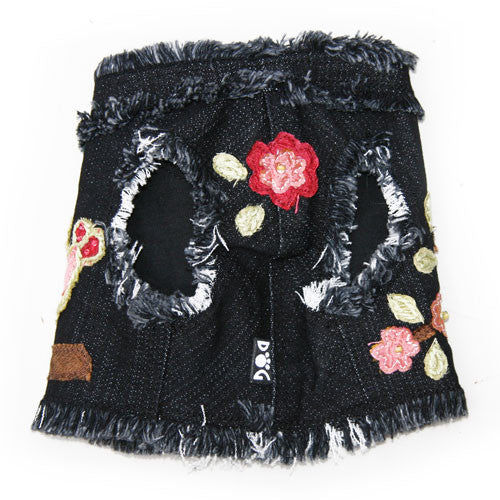 Dog in The Closet Robin Embellished Denim Vest Harness Front View