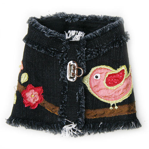 Dog in The Closet Robin Embellished Denim Vest Harness Back View