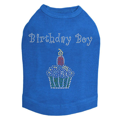 Dog In The Closet Birthday Boy Cupcake Rhinestone Tank Dog Shirt Blue
