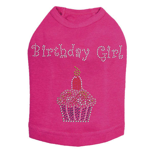 Dog In The Closet Birthday Girl Rhinestone Cupcake Tank Dog Shirt Hot Pink