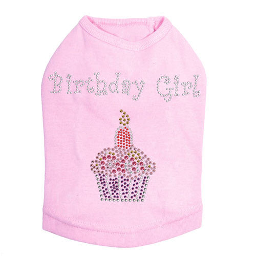Dog In The Closet Birthday Girl Rhinestone Cupcake Tank Dog Shirt Pink