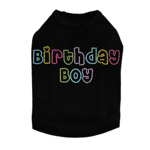 Dog In The Closet Birthday Boy Rhinestone Tank Dog Shirt Black