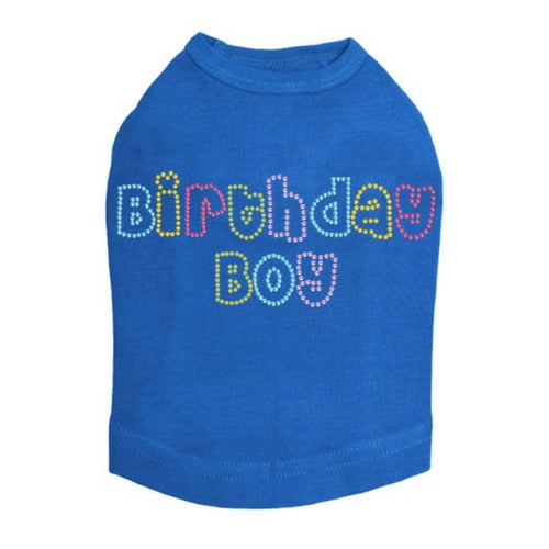 Dog In The Closet Birthday Boy Rhinestone Tank Dog Shirt Blue