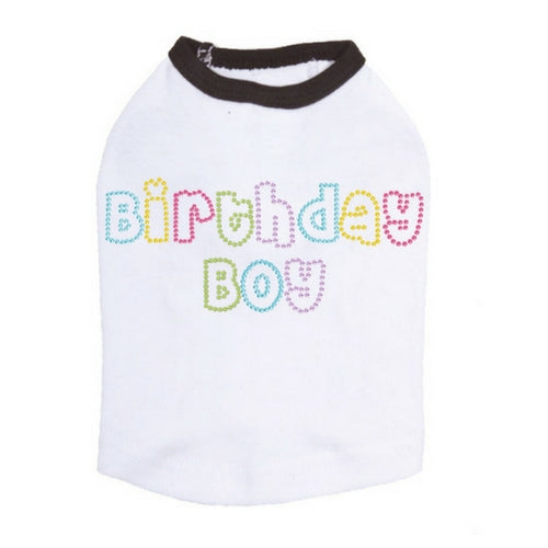 Dog In The Closet Birthday Boy Rhinestone Tank Dog Shirt White