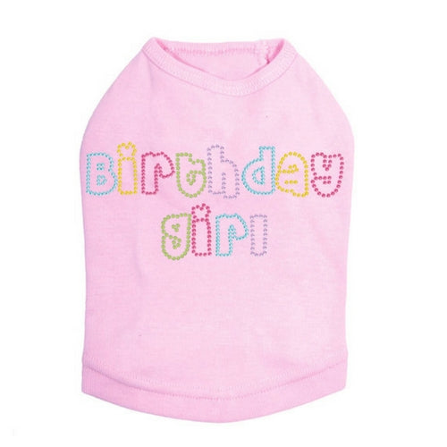 Dog In The Closet Birthday Girl Rhinestone Tank Dog Shirt Light Pink