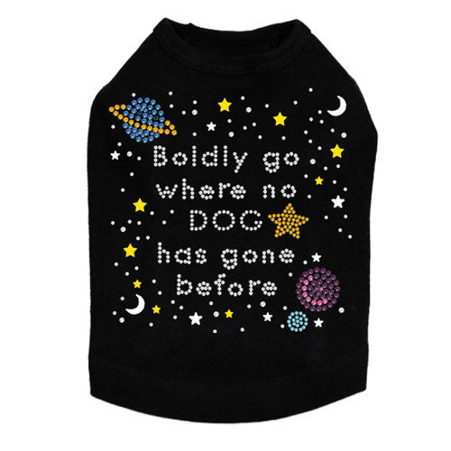 Boldly Go Where No Dog Has Gone Before Rhinestone Dog Tank Shirt Black
