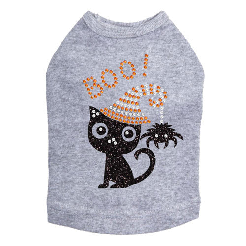 Dog In The Closet Boo! Black Cat with Spider Halloween Dog Tank Shirt Gray