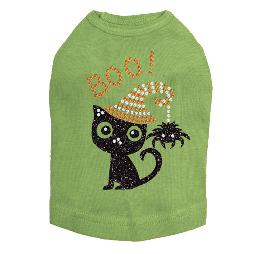 Dog In The Closet Boo! Black Cat with Spider Halloween Dog Tank Shirt Lime Green