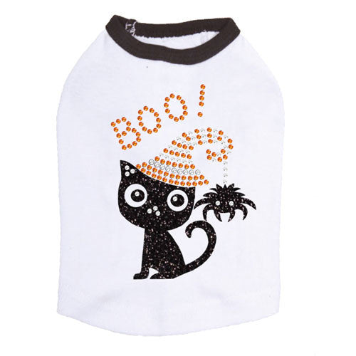 Dog In The Closet Boo! Black Cat with Spider Halloween Dog Tank Shirt White Ringer