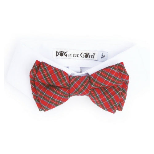 Dog In The Closet Dog Shirt Collar Red Tartan Plaid Bow Tie