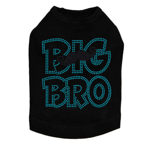 Dog In The Closet Big Bro Brother Mustache Tank Dog Shirt Black