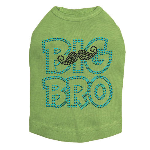Dog In The Closet Big Bro Brother Mustache Tank Dog Shirt Lime Green