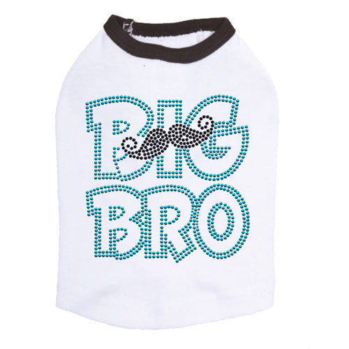 Dog In The Closet Big Bro Brother Mustache Tank Dog Shirt White Ringer