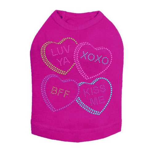 Dog In The Closet Candy ConversationHearts Valentine Dog Tank Tee Fuchsia