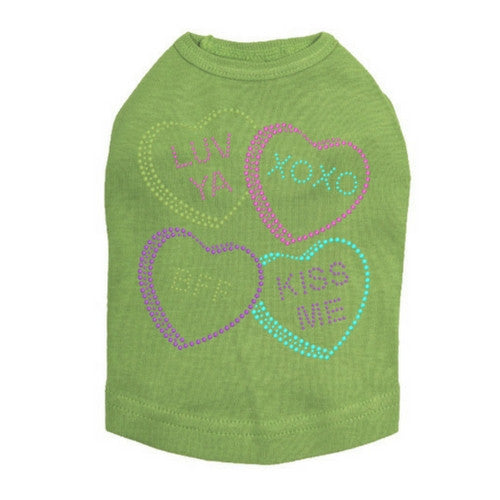 Dog In The Closet Candy Conversation Hearts Valentine Dog Tank Tee Green