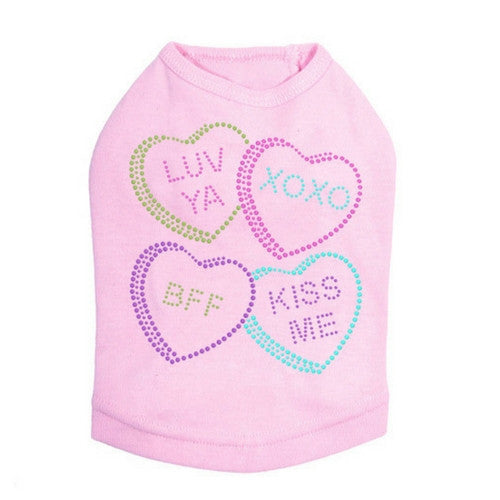 Dog In The Closet Candy Conversation Hearts Valentine Dog Tank Tee Pink