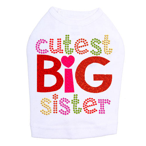 Dog In The Closet Cutest Big Sister Dog Tank Shirt White