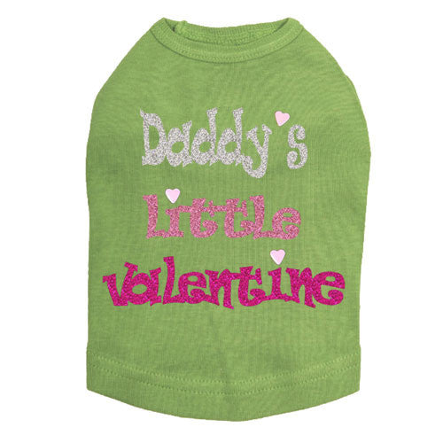 Dog In The Closet Daddy's Little Valentine Dog Tank Tee Green
