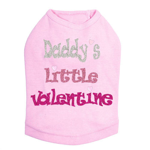 Dog In The Closet Daddy's Little Valentine Dog Tank Tee Light Pink