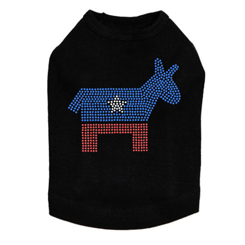 Political Democrat Donkey Rhinestone Dog Tank Dog In The Closet Black