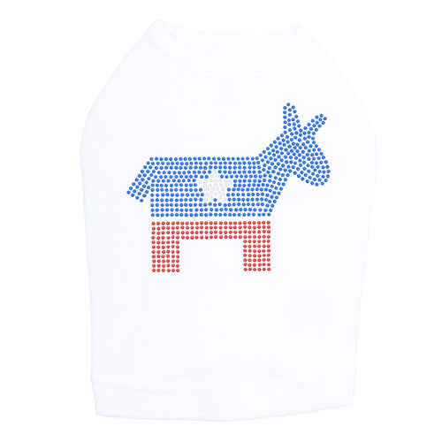 Political Democrat Donkey Rhinestone Dog Tank Dog In The Closet White