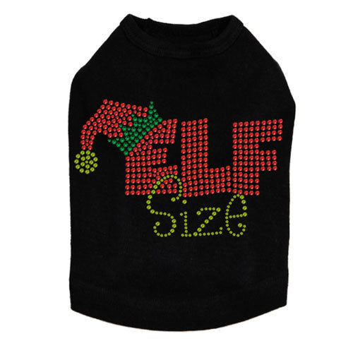 Dog In The Closet Elf Size Rhinestone Holiday Dog Tank Shirt Black