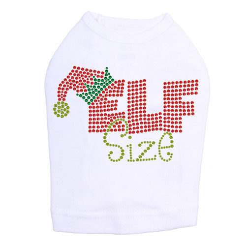 Dog In The Closet Elf Size Rhinestone Holiday Dog Tank Shirt White