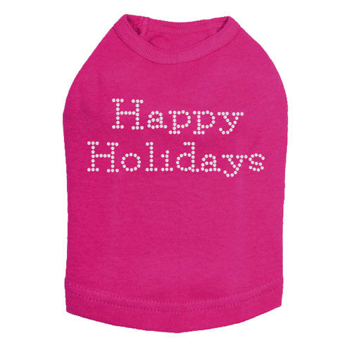 Dog In The Closet Happy Holidays Rhinestone Designer Dog Tank Fuchsia