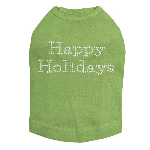 Dog In The Closet Happy Holidays Rhinestone Designer Dog Tank Lime Green