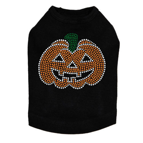 Dog In The Closet Jack-O-Lantern Rhinestone Halloween Dog Tank Shirt
