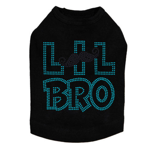 Dog In The Closet Lil Bro Brother Mustache Rhinestone Dog Tank Shirt Black