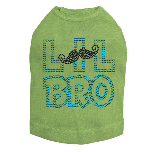 Dog In The Closet Lil Bro Brother Mustache Rhinestone Dog Tank Shirt Lime Green