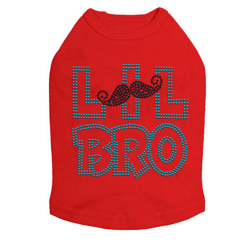 Dog In The Closet Lil Bro Brother Mustache Rhinestone Dog Tank Shirt Red