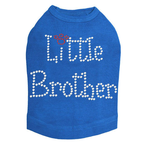 Dog In The Closet Little Brother Rhinestone Dog Tank Shirt Blue