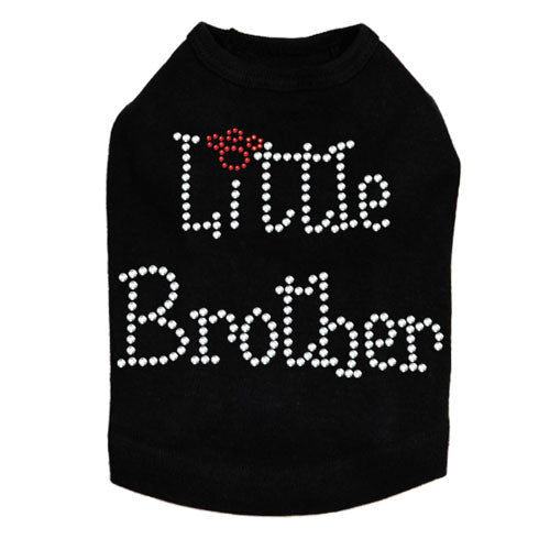 Dog In The Closet Little Brother Rhinestone Dog Tank Shirt Black