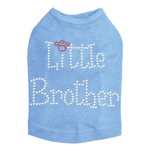 Dog In The Closet Little Brother Rhinestone Dog Tank Shirt Light Blue
