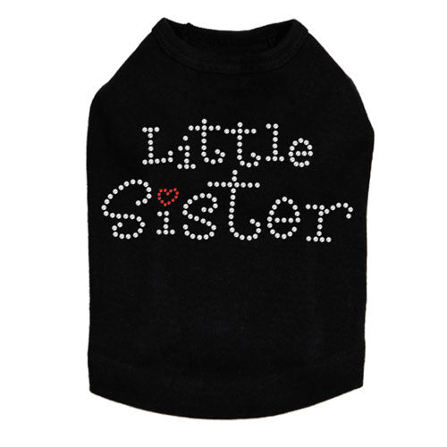 Dog In The Closet Little Sister Rhinestone Dog Tank Shirt Black