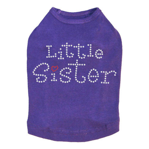 Dog In The Closet Little Sister Rhinestone Dog Tank Shirt Purple