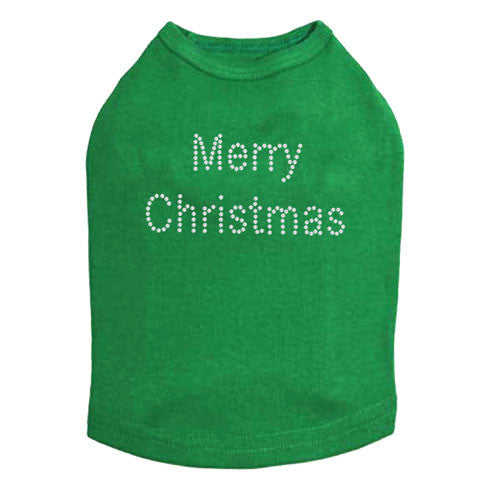Dog In The Closet Merry Christmas Rhinestone Designer Dog Tank Green