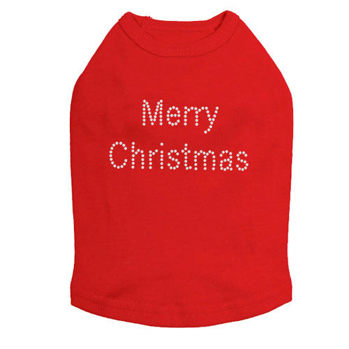 Dog In The Closet Merry Christmas Rhinestone Designer Dog Tank Red