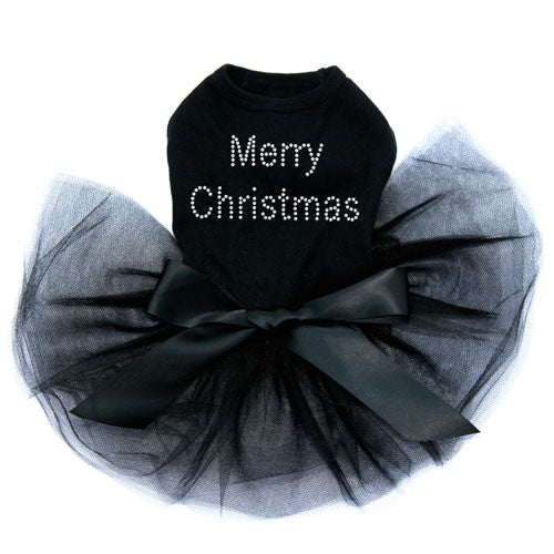 Dog In The Closet Merry Christmas Rhinestone Designer Dog Tutu Dress Black