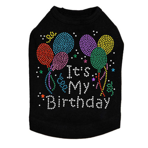 Dog In The Closet It's My Birthday Rhinestone Dog Tank Shirt Black