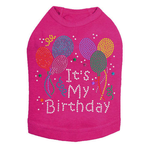 Dog In The Closet It's My Birthday Rhinestone Dog Tank Shirt Hot Pink